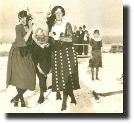 historic image of Women with Steer